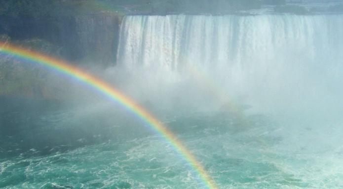 Niagárské vodopády s duhou