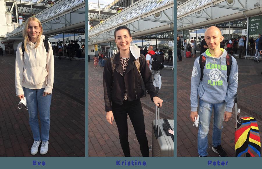 účastníci programu Práce v Irsku na letišti v Dublinu