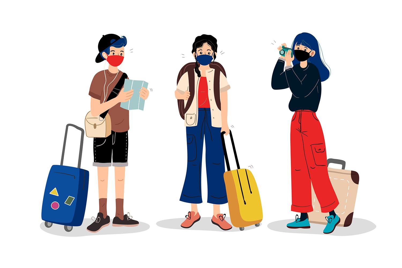 kreslení turisti se zavazadli a rouškami