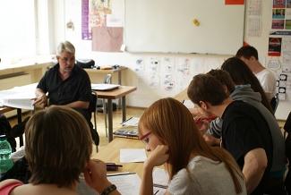Výklad lektora v jazykové škole PRESTO